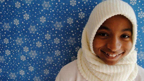 Alani Mason-Calloway '10 smiles in the hijab she wore for the project.