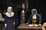 Jacqueline Wills '10 as Elizabeth Proctor, Coutney Young '10 as Judge Hathorne and Dillon DiSalvo '10 Deputy Governor Danforth